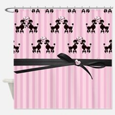 Poodles And Pink Hearts Shower Curtain