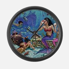 Mermaid And Her Children Large Wall Clock
