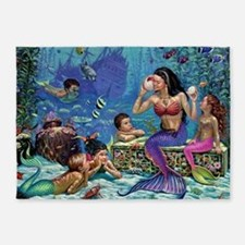 Mermaid And Her Children 5'x7'Area Rug