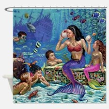 Mermaid And Her Children Shower Curtain