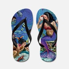 Mermaid And Her Children Flip Flops
