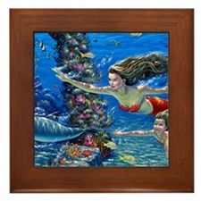 Mermaid And Her Daughter Swimming Framed Tile
