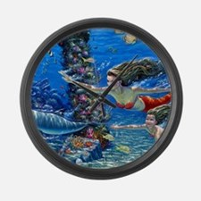 Mermaid And Her Daughter Swimming Large Wall Clock