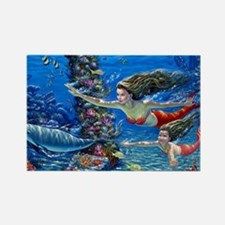 Mermaid And Her Daughter Swimming Magnets
