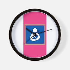 Breastfeeding Symbol on Pink Wall Clock