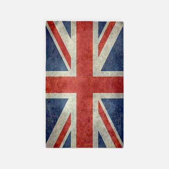 Vintage Union Jack Flag Area Rug