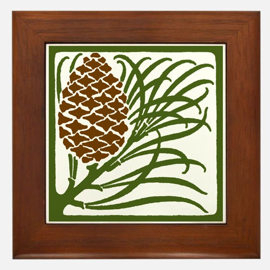 Giant Pine Cone Color Framed Tile