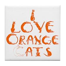 I love orange cats Tile Coaster