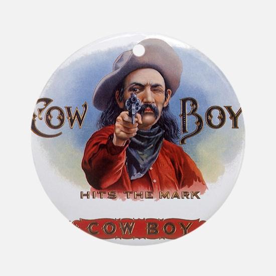 Vintage Cigar Label Cowboy Ornament (Round)