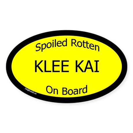 Spoiled Klee Kai On Board Oval Sticker