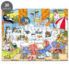 Cat 601 funny cats in bath Puzzle