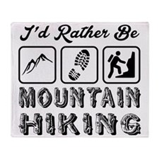 I'd Rather Be Mountain Hiking Throw Blanket
