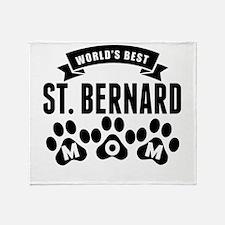 Worlds Best St. Bernard Mom Throw Blanket