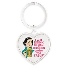 Funny Beer Drinking Humor Heart Keychain