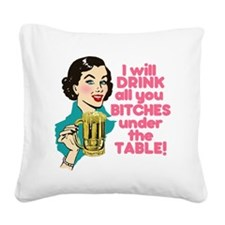 Funny Beer Drinking Humor Square Canvas Pillow