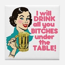 Funny Beer Drinking Humor Tile Coaster
