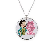 Funny Beer Drinking Humor Necklace Circle Charm
