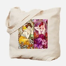 Mucha Gems Topaz, Ruby Ladies Tote Bag