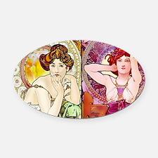 Mucha Gems Topaz, Ruby Ladies Oval Car Magnet