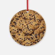 Chocolate Chop Cookie Pattern Round Ornament