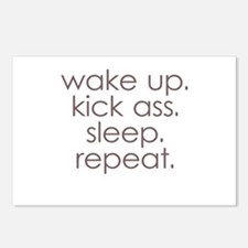 wake up kick ass sleep repeat Postcards (Package o