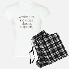 wake up kick ass sleep repeat Pajamas