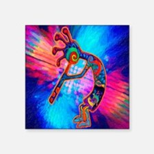 "Rainbow Kokopelli 2 Square Sticker 3"" x 3"""