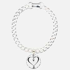 Love heart Charm Bracelet, One Charm