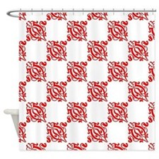 Decorative Red and White Shower Curtain