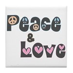 Peace and Love Tile Drink Coaster