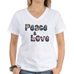Peace and Love Women's V-Neck T-Shirt
