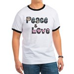 Peace and Love Ringer T Shirt