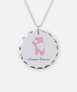 Team Pointe Ballet Pink Pers Necklace Circle Charm