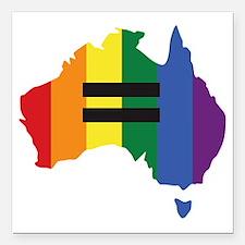 "LGBT equality Australia Square Car Magnet 3"" x 3"""