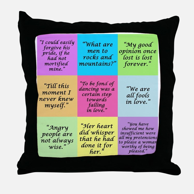 Pride and Prejudice Quotes Throw Pillow