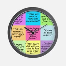 Pride and Prejudice Quotes Wall Clock