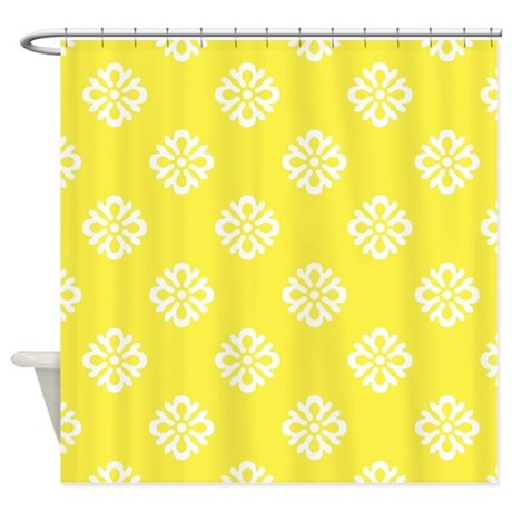 White and Yellow Damask Shower Curtain by Admin CP