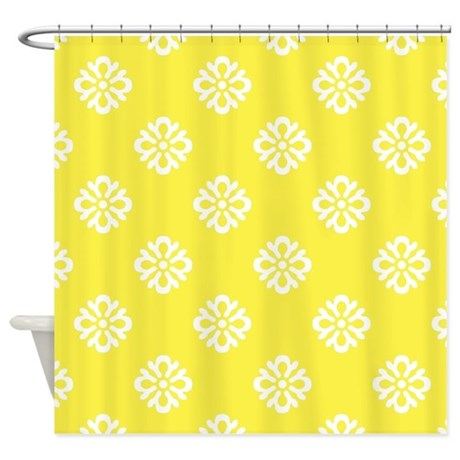 White And Yellow Damask Shower Curtain By Admin CP37802842