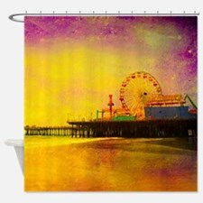 Yellow Santa Monica Pier Shower Curtain