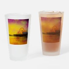 Yellow Santa Monica Pier Drinking Glass