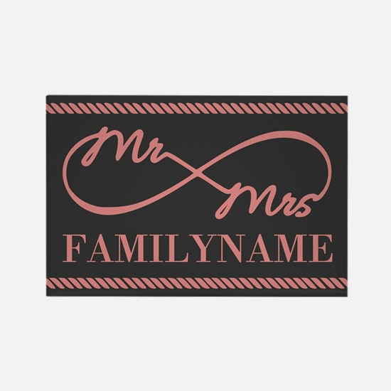 Gray Coral Custom Infinity Mr. and Mrs. Magnets