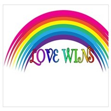 LOVE WINS Gay Marriage Rainbow Poster