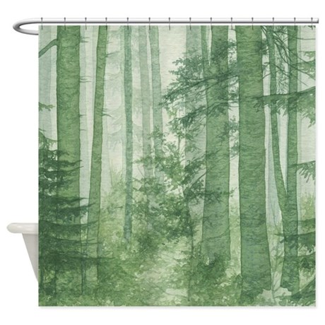 Green misty forest shower curtain by showercurtainshop for Forest green curtains drapes