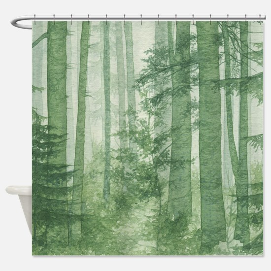 Forest shower curtains forest fabric shower curtain liner for Forest green curtains drapes