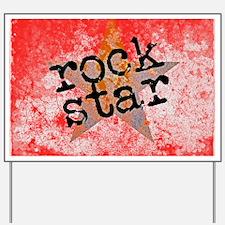 ROCK STAR ROCKING VINTAGE RED Yard Sign
