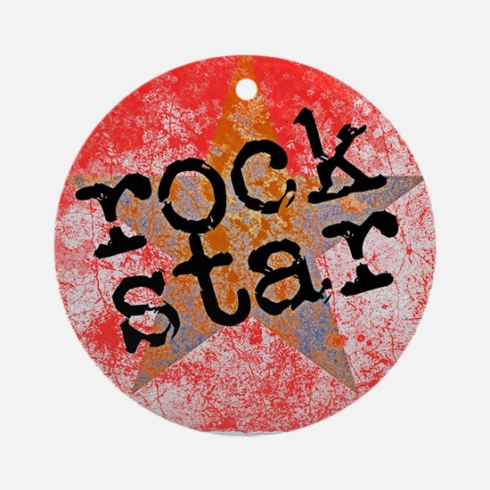 ROCK STAR ROCKING VINTAGE RED Ornament (Round)