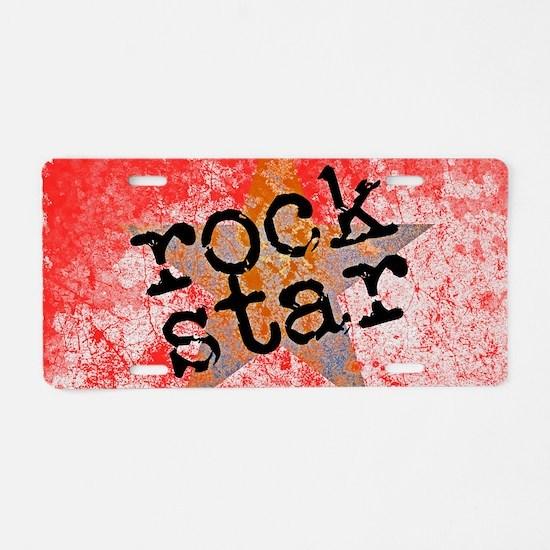 ROCK STAR ROCKING VINTAGE R Aluminum License Plate