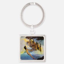 Dinky Bird by Maxfield Parrish Square Keychain