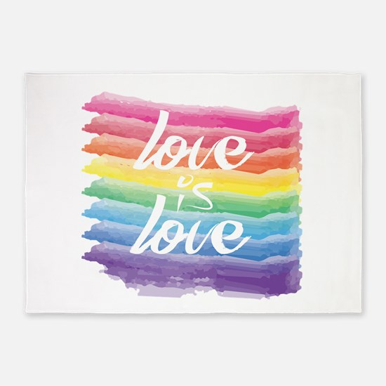 Love is Love Watercolor Rainbow Ga 5'x7'Area Rug