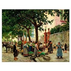 Vegetable Market in Vomero, vintage Danish paintin Poster